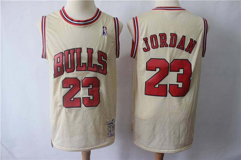 Bulls 23 Michael Jordan Cream Hardwood Classics Jersey