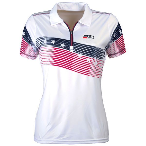 Women's Antigua Seattle Seahawks White Patriot Polo