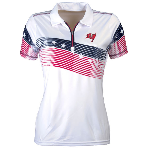 Women's Antigua Tampa Bay Buccaneers White Patriot Polo
