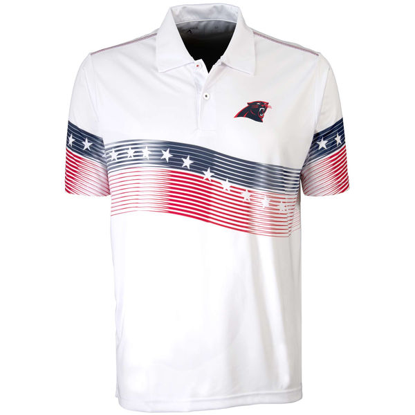 Antigua Carolina Panthers White Patriot Polo Shirt