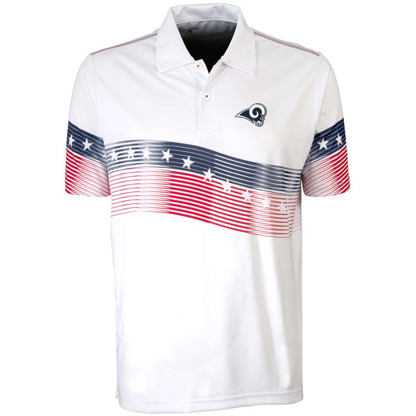 Antigua Los Angeles Rams White Patriot Polo Shirt