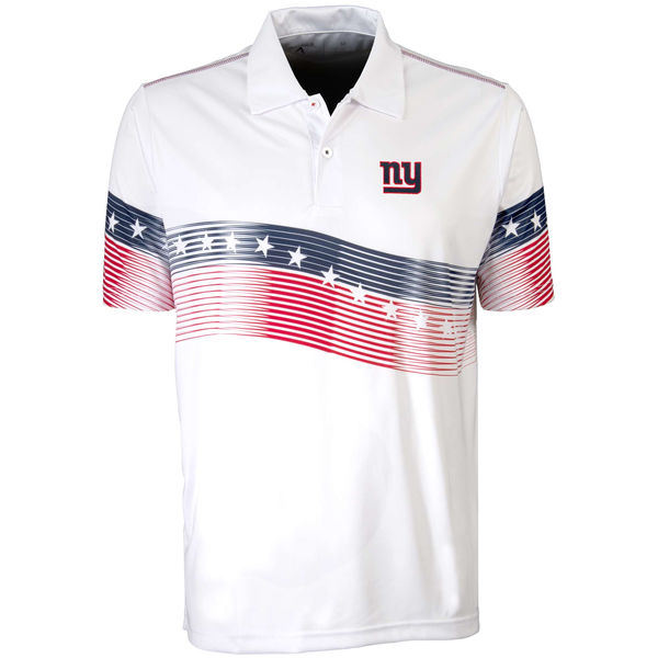 Antigua New York Giants White Patriot Polo Shirt