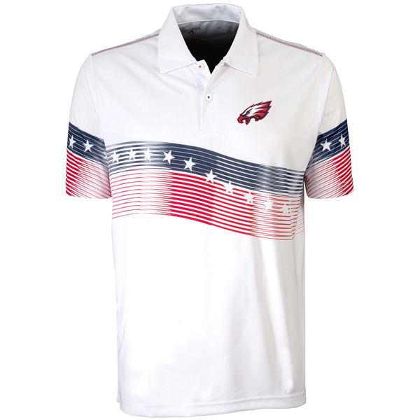 Antigua Philadelphia Eagles White Patriot Polo Shirt