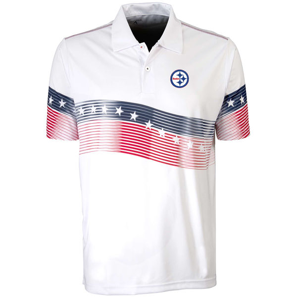 Antigua Pittsburgh Steelers White Patriot Polo Shirt
