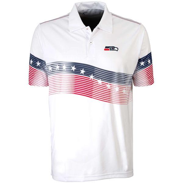 Antigua Seattle Seahawks White Patriot Polo Shirt