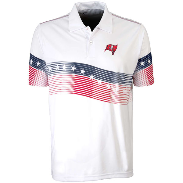 Antigua Tampa Bay Buccaneers White Patriot Polo Shirt