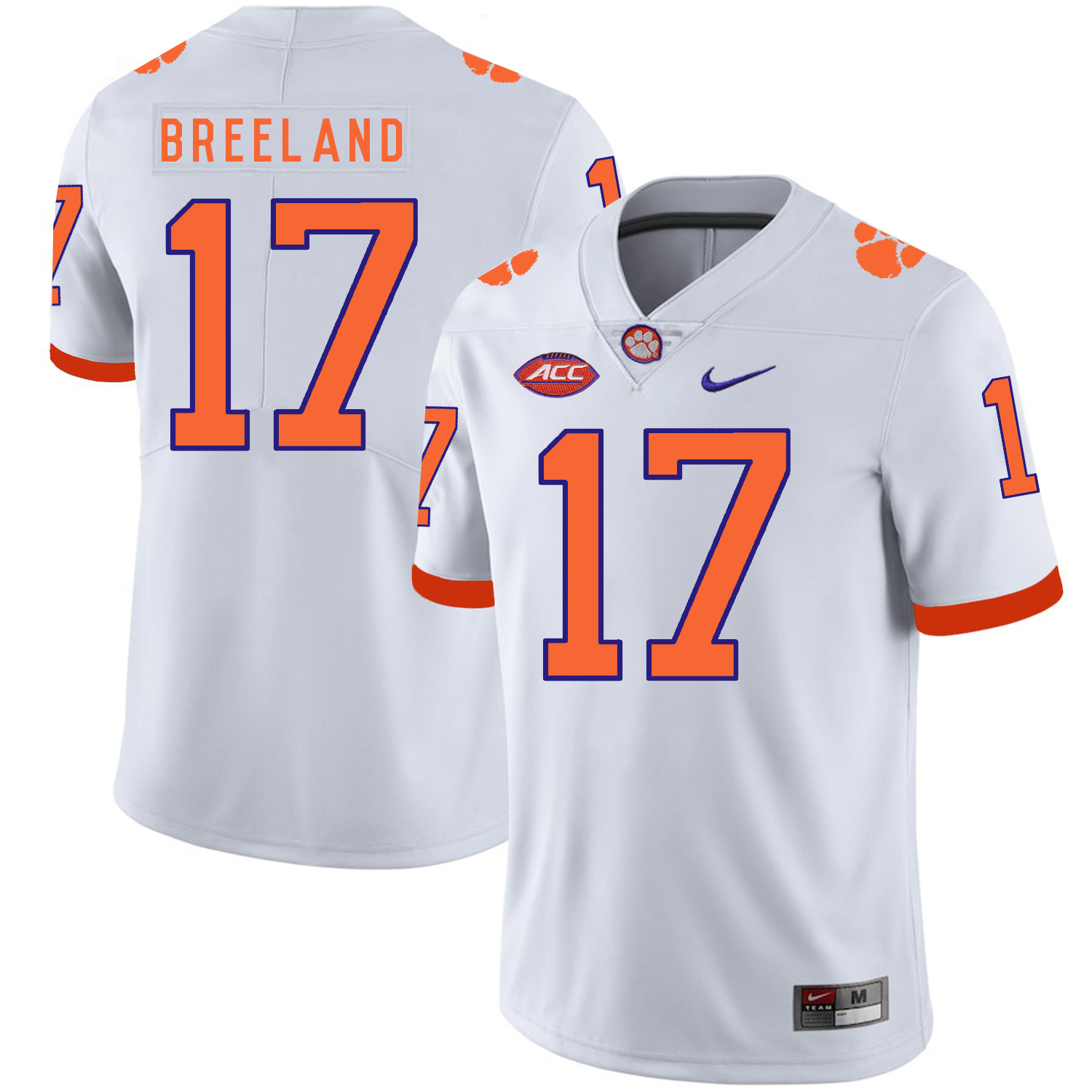 Clemson Tigers 17 Bashaud Breeland White Nike College Football Jersey