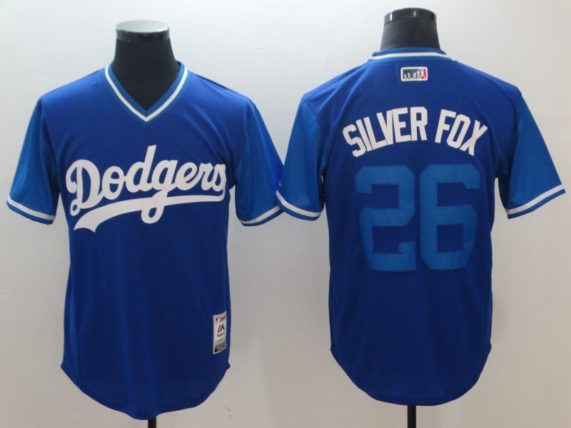 Dodgers 26 Chase Utley Silver Fox Royal 2018 Players' Weekend Authentic Team Jersey