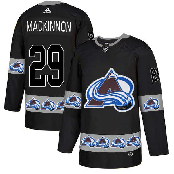 Avalanche 29 Nathan MacKinnon Black Team Logos Fashion Adidas Jersey