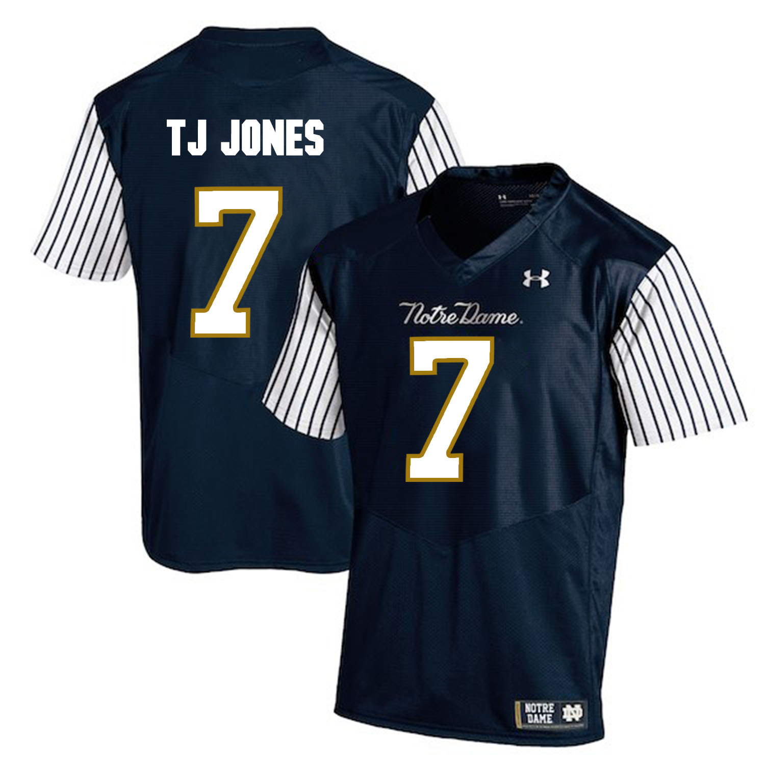 Notre Dame Fighting Irish 7 TJ Jones Navy College Football Jersey