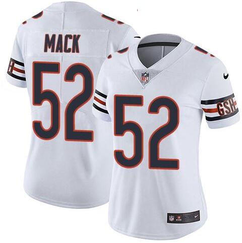 Nike Bears 52 Khalil Mack White Women Vapor Untouchable Limited Jersey