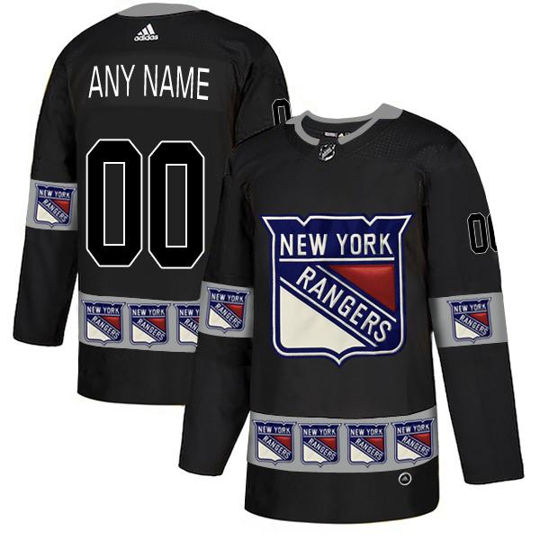 New York Rangers Black Men's Customized Team Logos Fashion Adidas Jersey