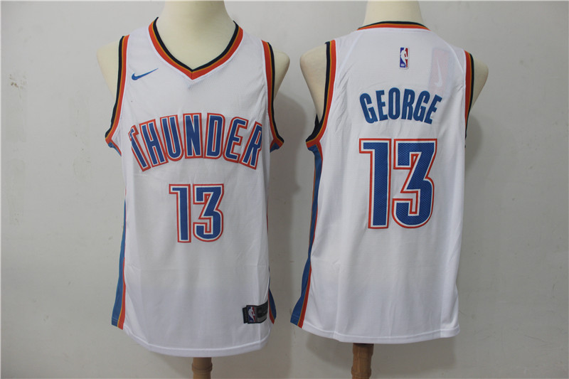 Thunder 13 Paul George White Nike Swingman Jersey