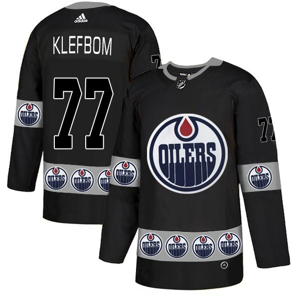 Oilers 77 Oscar Klefbom Black Team Logos Fashion Adidas Jersey
