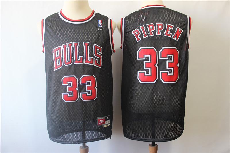 Bulls 33 Scottie Pippen Black Throwback Jersey