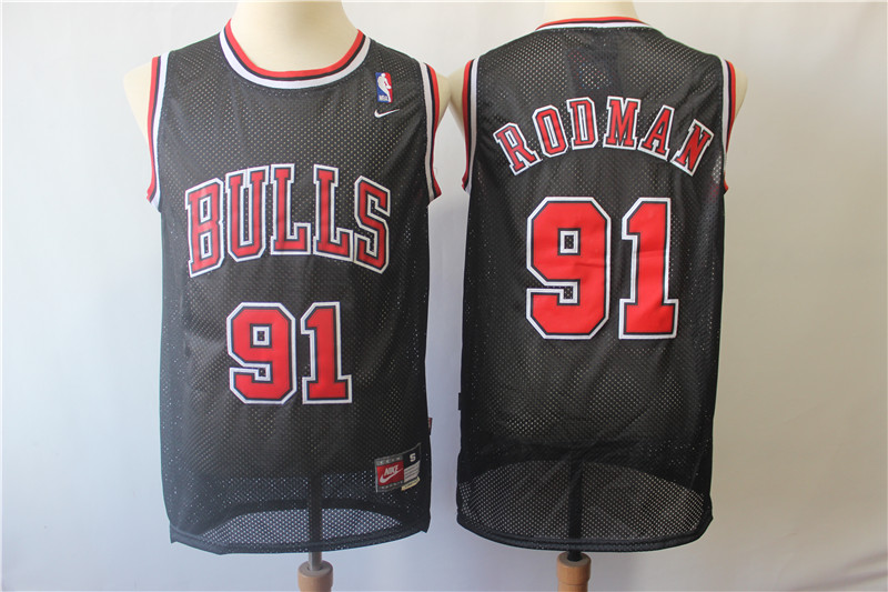 Bulls 91 Dennis Rodman Black Throwback Jersey