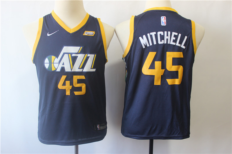 Jazz 45 Donovan Mitchell Navy Youth Nike Swingman Jersey