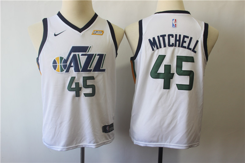 Jazz 45 Donovan Mitchell White Youth Nike Swingman Jersey