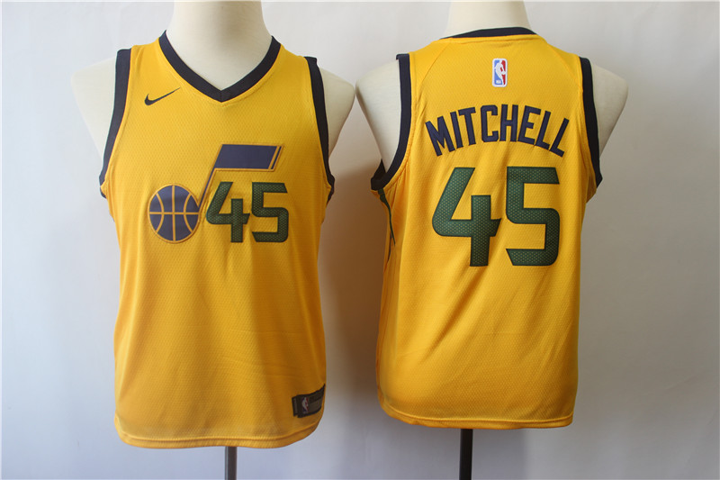 Jazz 45 Donovan Mitchell Yellow Youth Nike Swingman Jersey