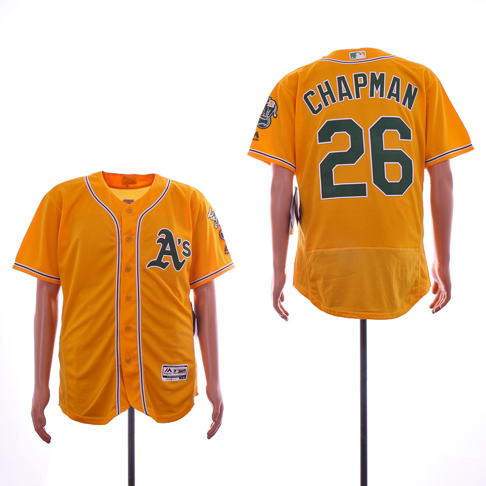 Athletics 26 Matt Chapman Yellow Flexbase Jersey