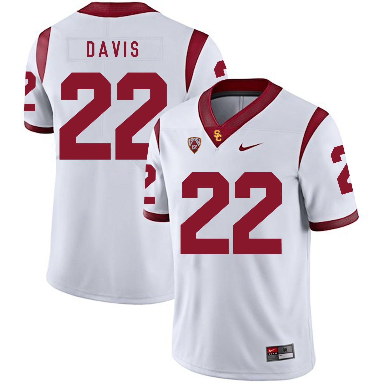 USC Trojans 22 Justin Davis White College Football Jersey