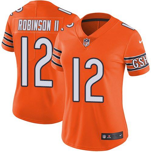 Nike Bears 12 Allen Robinson II Orange Women Color Rush Limited Jersey
