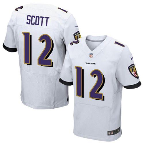 Nike Ravens 12 Jaleel Scott White Elite Jersey