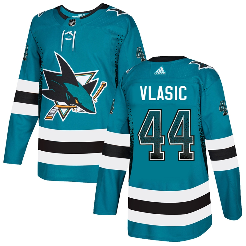 Sharks 44 Marc-Edouard Vlasic Teal Drift Fashion Adidas Jersey