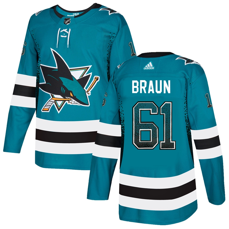 Sharks 61 Justin Braun Teal Drift Fashion Adidas Jersey
