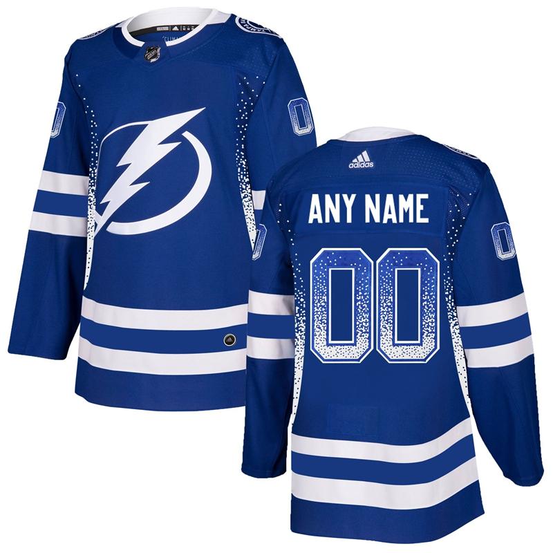 Tampa Bay Lightning Blue Men's Customized Drift Fashion Adidas Jersey