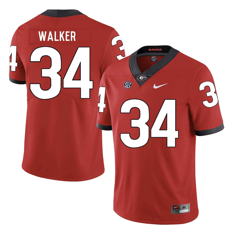 Georgia Bulldogs 34 Herchel Walker Red Nike College Football Jersey