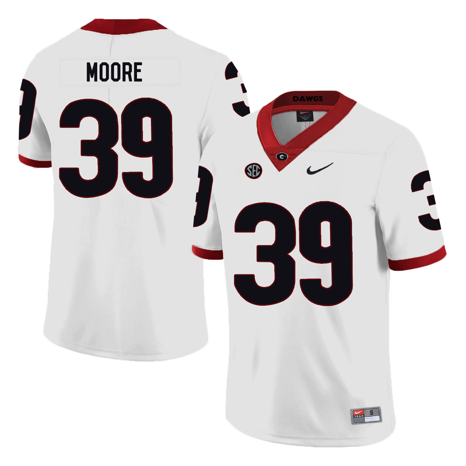 Georgia Bulldogs 39 Corey Moore White Nike College Football Jersey