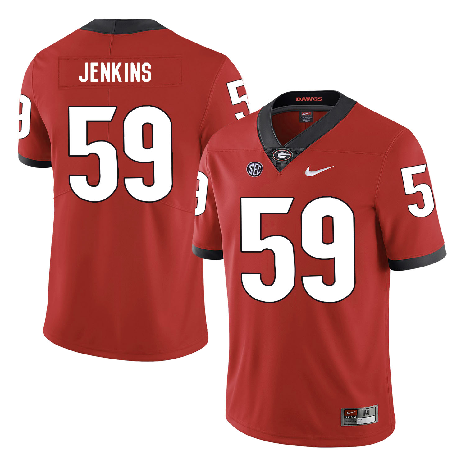 Georgia Bulldogs 59 Jordan Jenkins Red Nike College Football Jersey