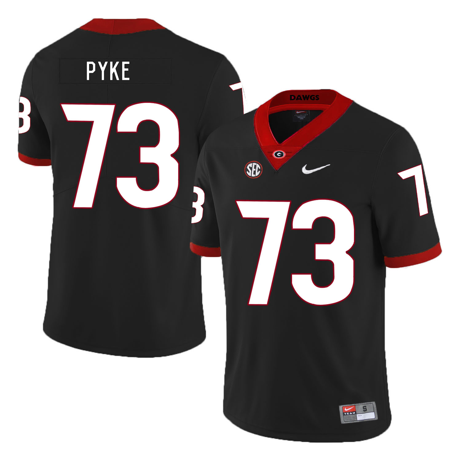 Georgia Bulldogs 73 Greg Pyke Black Nike College Football Jersey