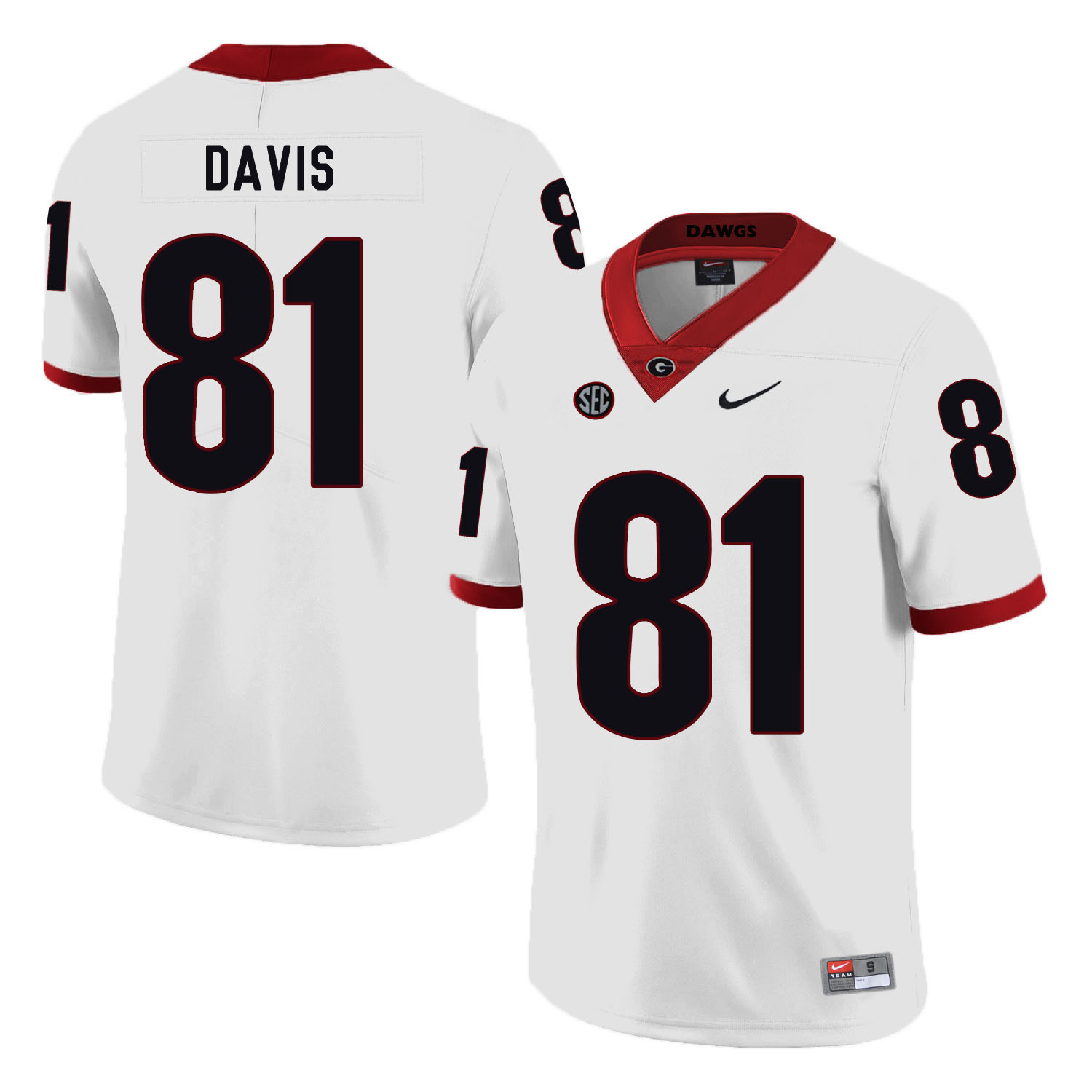 Georgia Bulldogs 81 Reggie Davis White Nike College Football Jersey