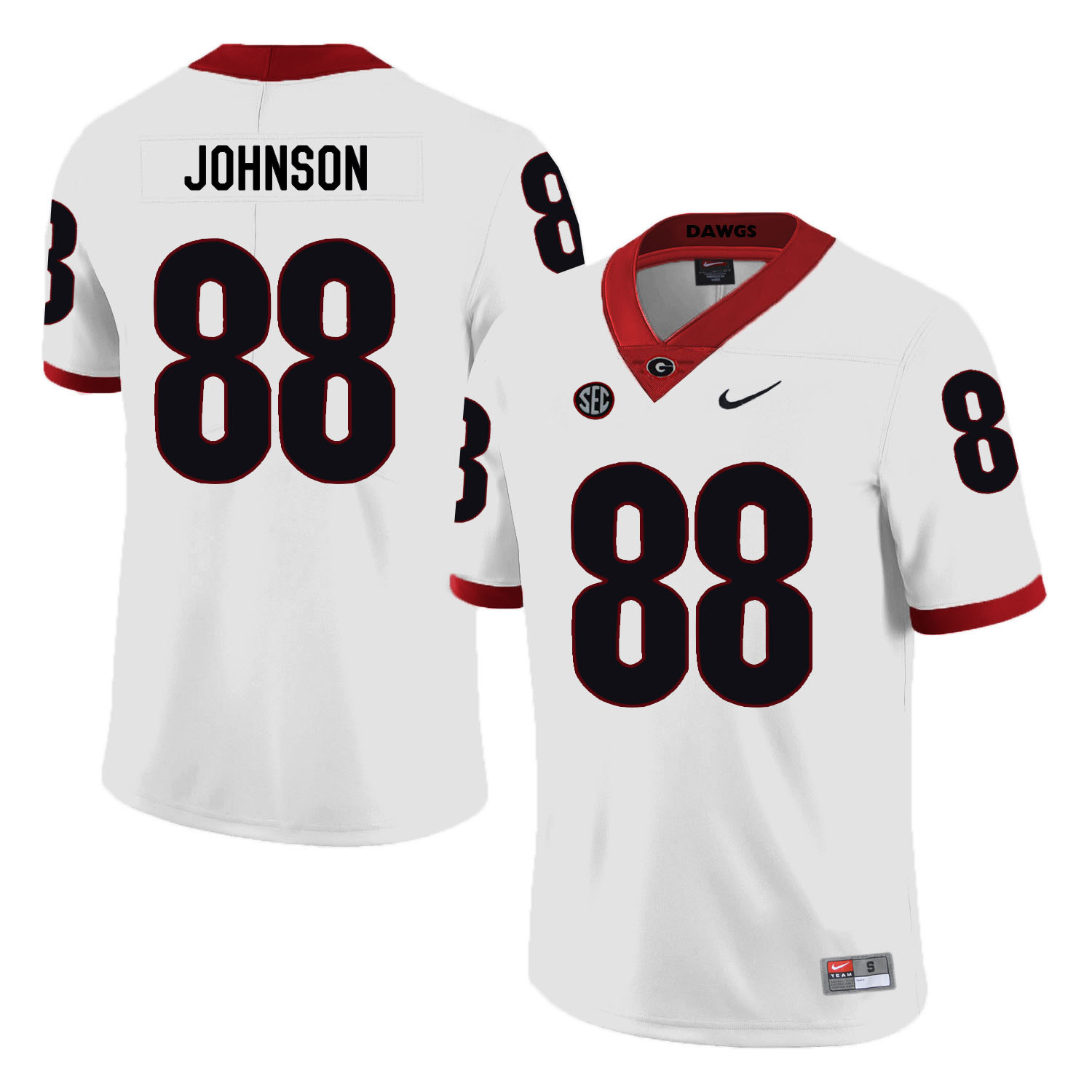 Georgia Bulldogs 88 Toby Johnson White Nike College Football Jersey
