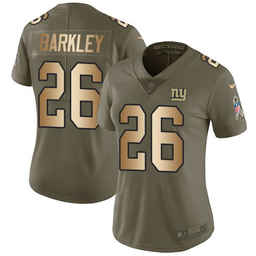 Nike Giants 26 Saquon Barkley Olive Gold Women Salute To Service Limited Jersey