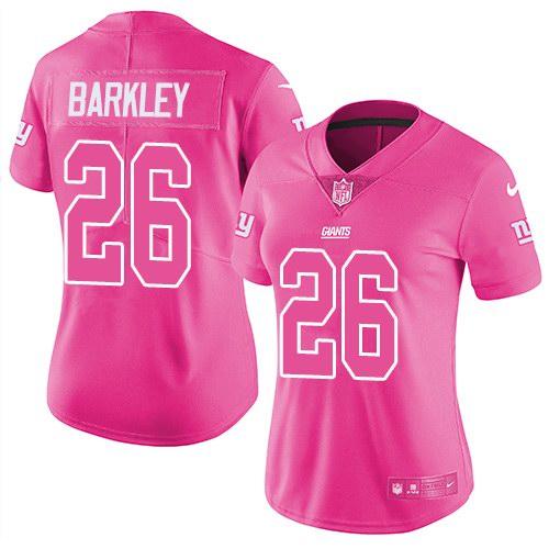 Nike Giants 26 Saquon Barkley Pink Women Rush Fashion Limited Jersey