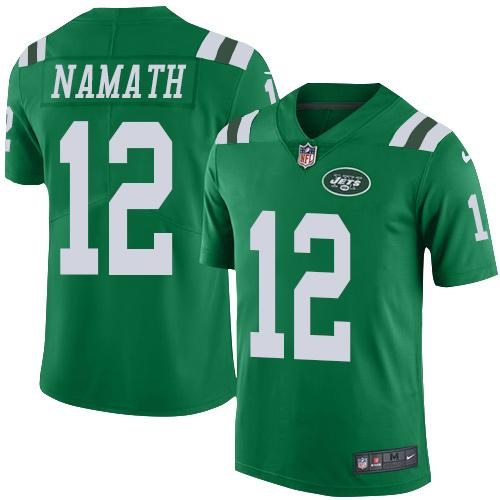 Nike Jets 12 Joe Namath Green Youth Color Rush Limited Jersey
