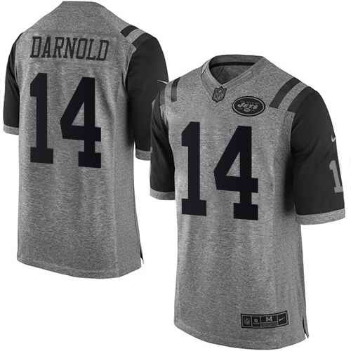 Nike Jets 14 Sam Darnold Gray Gridiron Gray Limited Jersey