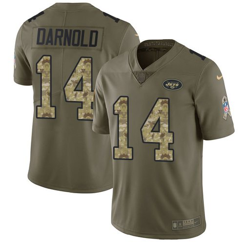Nike Jets 14 Sam Darnold Olive Camo Youth Salute To Service Limited Jersey