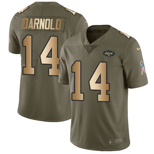 Nike Jets 14 Sam Darnold Olive Gold Youth Salute To Service Limited Jersey