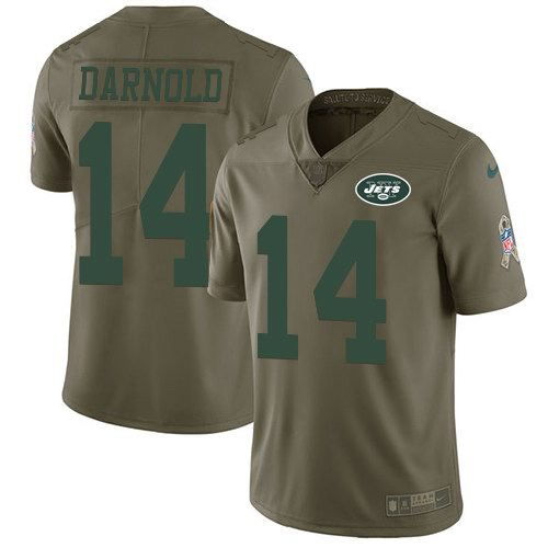 Nike Jets 14 Sam Darnold Olive Youth Salute To Service Limited Jersey