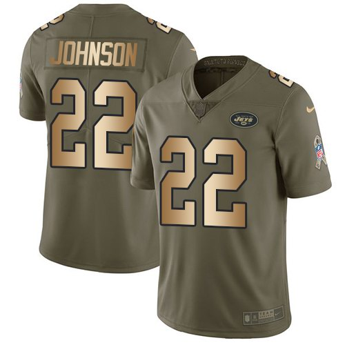 Nike Jets 22 Matt Forte Olive Gold Youth Salute To Service Limited Jersey