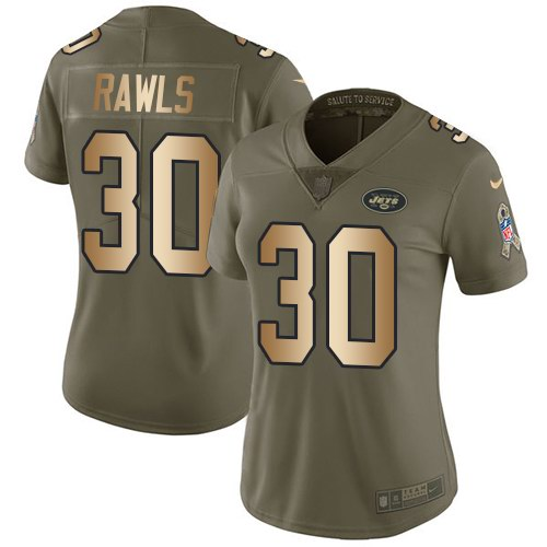 Nike Jets 30 Thomas Rawls Olive Gold Women Salute To Service Limited Jersey