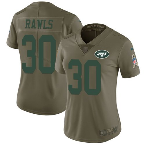 Nike Jets 30 Thomas Rawls Olive Women Salute To Service Limited Jersey
