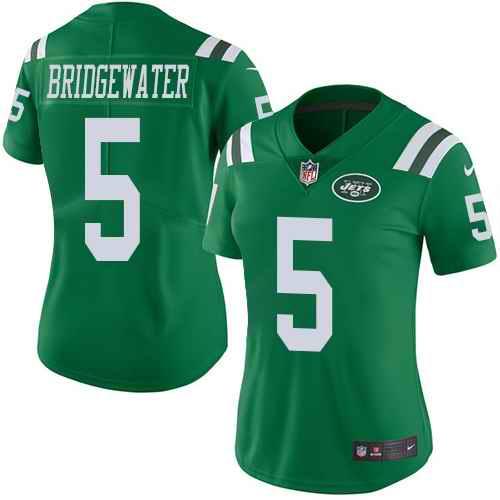 Nike Jets 5 Teddy Bridgewater Green Women Color Rush Limited Jersey