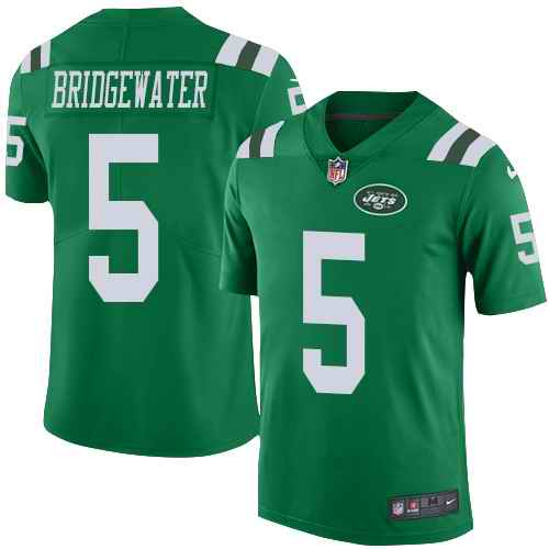 Nike Jets 5 Teddy Bridgewater Green Youth Color Rush Limited Jersey