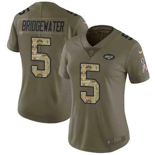 Nike Jets 5 Teddy Bridgewater Olive Camo Women Salute To Service Limited Jersey