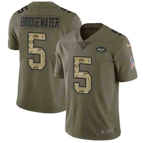 Nike Jets 5 Teddy Bridgewater Olive Camo Youth Salute To Service Limited Jersey